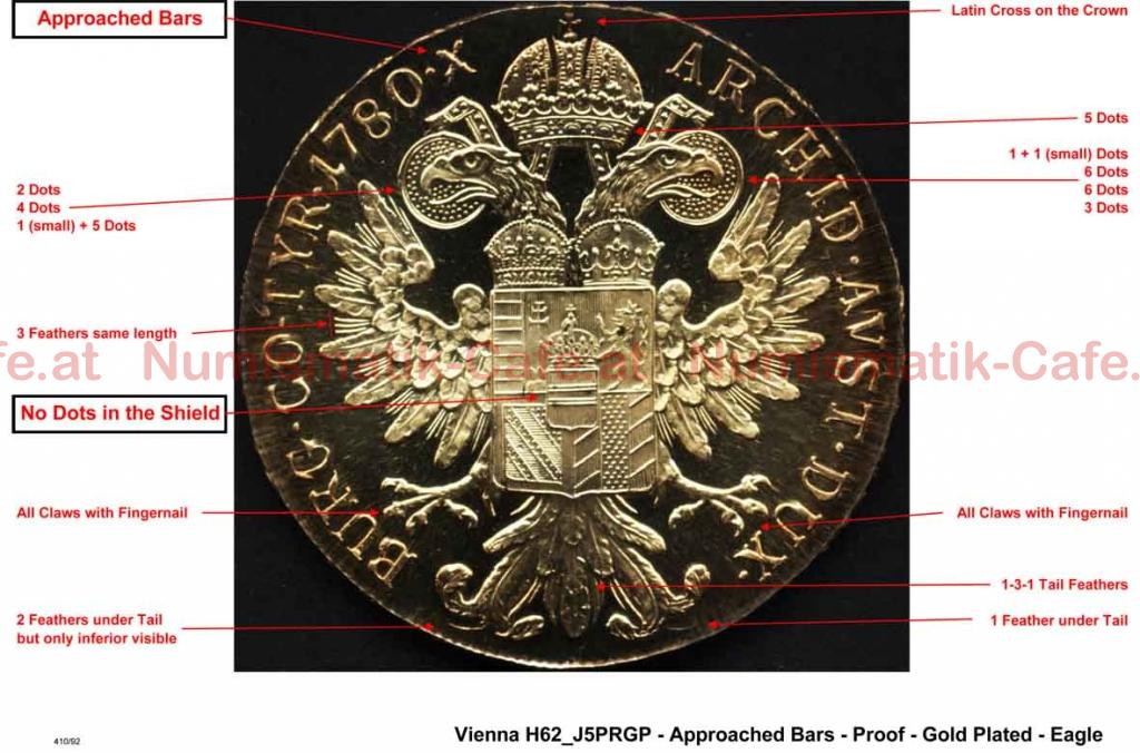 SF - Vienna - H62 J5PRGP - Approached Bars - Proof - Gold Plated - Eagle LR